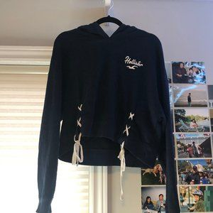 Hollister Cropped Sweater with Cross Detailing
